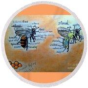 Bees  Round Beach Towel by Francine Heykoop