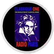 Beethoven Classique One Radio Paris  Round Beach Towel