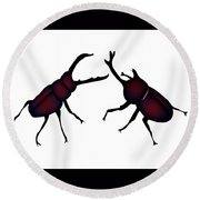 Beetle And Stag Beetle Round Beach Towel