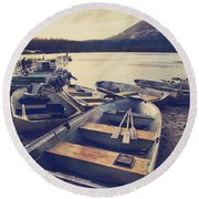 Before Another Day Disappears Round Beach Towel