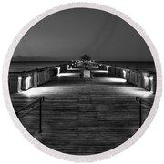 Round Beach Towel featuring the photograph Before Dawn Folly Beach Pier Charleston Sc Art by Reid Callaway