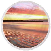 Before Sunrise At First Beach Round Beach Towel