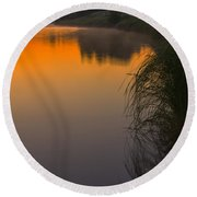 Before Sunrise On The River Round Beach Towel