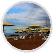Before The Crowds Round Beach Towel by David Pantuso