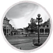 Before The Gates Open Black And White Magic Kingdom Walt Disney World Mp Round Beach Towel