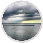 Round Beach Towel featuring the photograph Before The Storm by Ricky L Jones