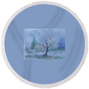 Round Beach Towel featuring the painting Begining Of Another Winter by Anna  Duyunova
