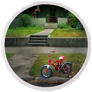 Round Beach Towel featuring the photograph Beginners Bicycle by Craig J Satterlee
