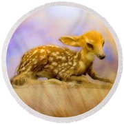 Beginning Fawn  Round Beach Towel