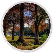 Beginning Of Fall In Texas Round Beach Towel