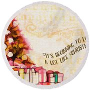 Round Beach Towel featuring the digital art Beginning To Look Like Christmas Card 2017 by Kathryn Strick