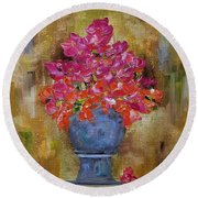 Round Beach Towel featuring the painting Begonia Justice by Judith Rhue