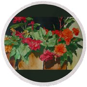Begonias Flowers Colorful Original Painting Round Beach Towel