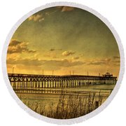 Behind Cherry Grove Pier  Round Beach Towel