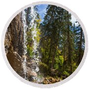 Behind Spouting Rock Waterfall - Hanging Lake - Glenwood Canyon Colorado Round Beach Towel