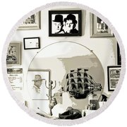 Round Beach Towel featuring the photograph Behind The Barber Chair by Joe Jake Pratt