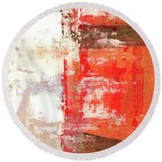 Behind The Corner - Warm Linear Abstract Painting Round Beach Towel