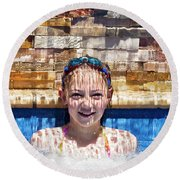 Round Beach Towel featuring the photograph Behind The Falls by Linda Lees