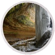 Behind The Ice Falls Round Beach Towel