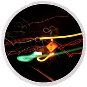 Behind The Lights Round Beach Towel