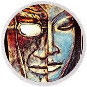 Behind The Mask Round Beach Towel
