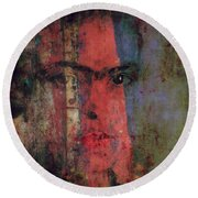 Round Beach Towel featuring the painting Behind The Painted Smile by Paul Lovering