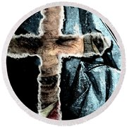 Round Beach Towel featuring the mixed media Behind The Thin Veil Of The Cross by Reed Novotny