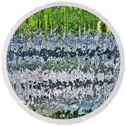 Behind The Waterfall Round Beach Towel