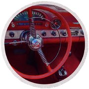 Round Beach Towel featuring the photograph Behind The Wheel 55 Ford Thunderbird by Trey Foerster
