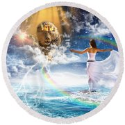 Round Beach Towel featuring the digital art Behold, He Is Coming  by Dolores Develde