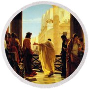 Round Beach Towel featuring the painting Behold The Man by Celestial Images