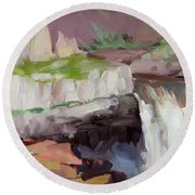 Round Beach Towel featuring the painting Beholding Palouse Falls by Steve Henderson
