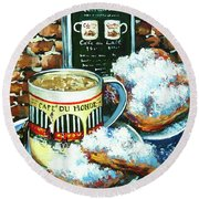 Beignets And Cafe Au Lait Round Beach Towel