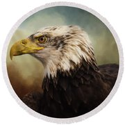 Round Beach Towel featuring the photograph Being Patient - Eagle Art by Jordan Blackstone