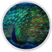Being Yourself - Peacock Art Round Beach Towel