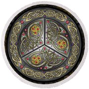 Bejeweled Celtic Shield Round Beach Towel