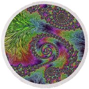Bejeweled Fractal Abstract Round Beach Towel