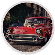 Round Beach Towel featuring the photograph Bel Air Hotrod by Joel Witmeyer