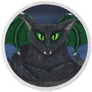 Bela Vampire Cat Round Beach Towel