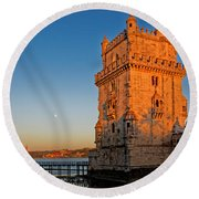 Belem Tower And The Moon Round Beach Towel