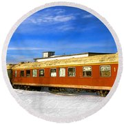 Belfast And Moosehead Railroad Cars In Winter Round Beach Towel