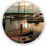 Belfast Harbor Round Beach Towel