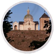Round Beach Towel featuring the photograph Belfry And Chapel Of Saint Sebastian by Michal Boubin