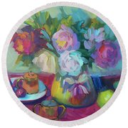 Round Beach Towel featuring the painting Belgian Creamer And Sugar by Diane McClary