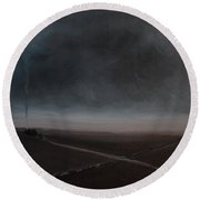 Round Beach Towel featuring the painting Belgian Wintertime by Tone Aanderaa