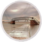 Belhaven Stairs And The Bass At Low Tide Round Beach Towel