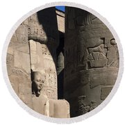 Belief In The Hereafter - Luxor Karnak Temple Round Beach Towel
