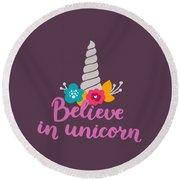 Believe In Unicorn Round Beach Towel by Edward Fielding