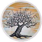 Round Beach Towel featuring the drawing Believe Love Tree by Aaron Bombalicki
