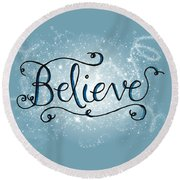 Believe Winter Art Round Beach Towel